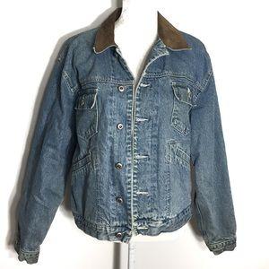 Gap • vintage lined suede collar denim jacket